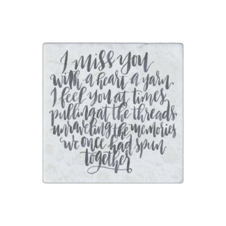 Love Quotes: I Miss You With A Heart Of Yarn Stone Magnet
