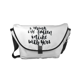 Love Quotes: I Think I've Fallen Inlike With You Small Messenger Bag