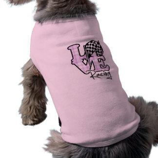 Love Racing Checkered Flag Dog T-shirt