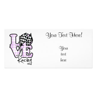 Love Racing; Checkered Flag Rack Card Template