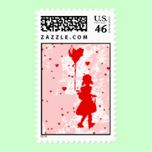 Love rain down on me. Girl with heart balloon Stamp.