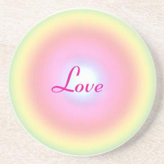 Love Rainbow Circle Valentine Sandstone Coaster