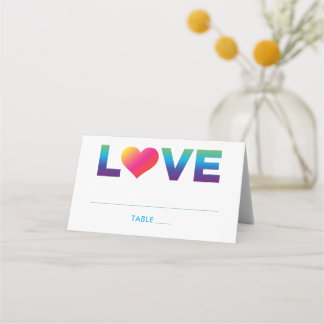Love Rainbow Colors Heart Wedding Place Card