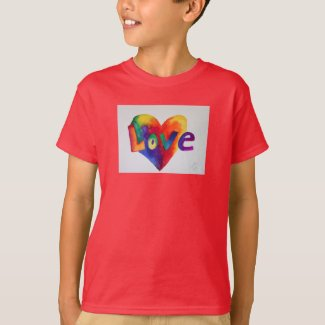 Love Rainbow Heart Art Inspirational Word Shirts
