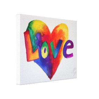 Love Rainbow Heart Art Painting Canvas Print