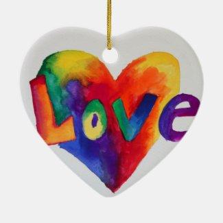 Love Rainbow Heart Art Painting Ornament