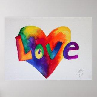 Love Rainbow Heart Art Painting Poster Print