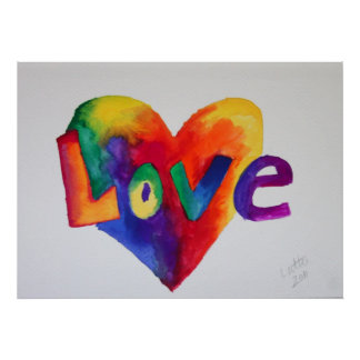 Love Rainbow Heart Art Painting Poster Print
