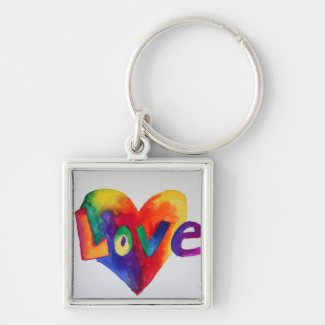 Love Rainbow Heart Art Word Painting Keychain