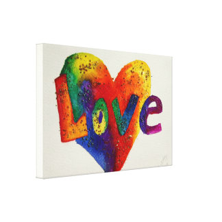 Love Rainbow Heart Glitter Painting Canvas Print
