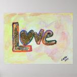 Love Rainbow Heart Glitter Painting Poster Print