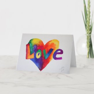 Love Rainbow Heart Greeting Card or Note Cards