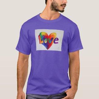 Love Rainbow Heart Inspirational Word Art Shirt