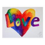 Love Rainbow Heart Watercolor Art Postcard