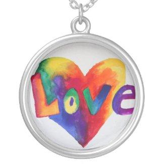 Love Rainbow Heart Watercolor Necklace Pendant