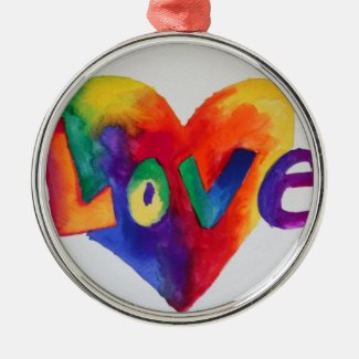 Love Rainbow Heart Word Art Ornament