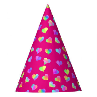 Love & Rainbow Hearts by The Happy Juul Company Party Hat