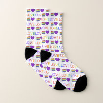 LOVE  Rainbow Wedding Cake Purple Heart Gay Pride Socks