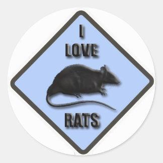 love rats blue classic round sticker