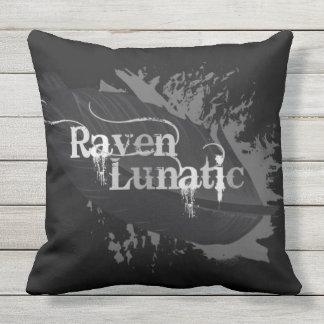 "Love Ravens ""Raven Lunatic"" Bird Fanatic Grunge Throw Pillow"