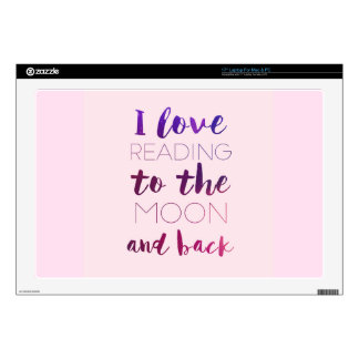 Love Reading to the Moon Pink Skins For Laptops