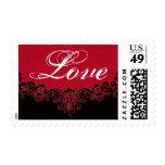 LOVE Red and  Black Vintage Frame Wedding Postage Stamps