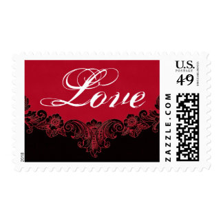 LOVE Red and  Black Vintage Frame Wedding Postage Stamp