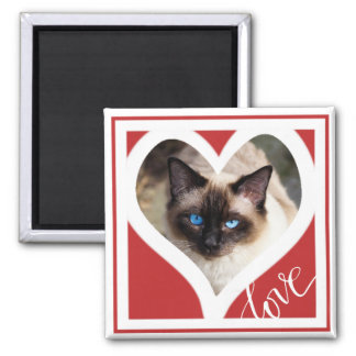 LOVE | Red and White Heart Photo Frame Magnet