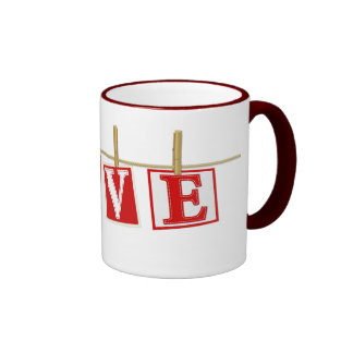 Love - Red and White Stitched Effect Patchwork Mug