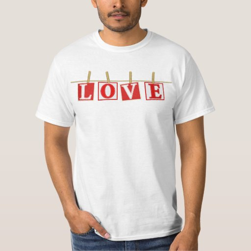 Love - Red and White Stitched Effect Patchwork T-Shirt