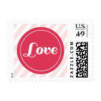 Love Red Circle Pink Stripes Valentine's Day Stamp