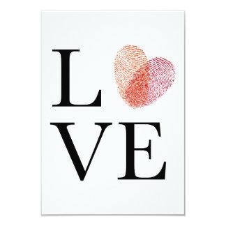 Love, red fingerprint heart, wedding invitation