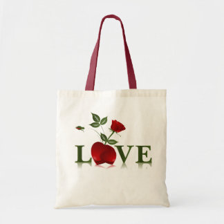 LOVE - RED HEART AND ROSE CANVAS BAG