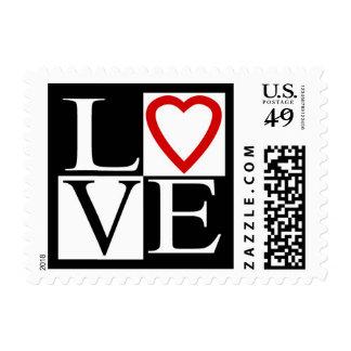 Love Red Heart Black White Wedding RSVP Save Date Postage Stamp