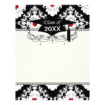 love red heart damask on white black graduation letterhead template