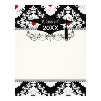 love red heart damask on white black graduation letterhead