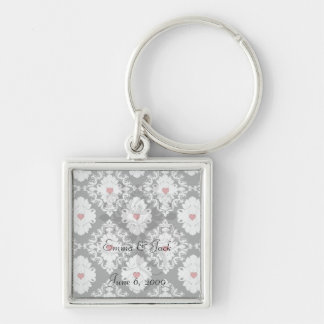 love red heart damask on white black key chains