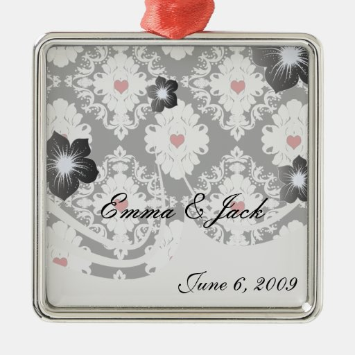 love red heart damask on white black square metal christmas ornament