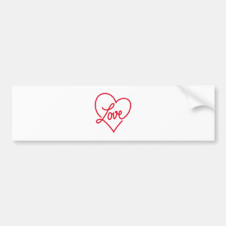 Love, red heart for Valentine's day Bumper Sticker