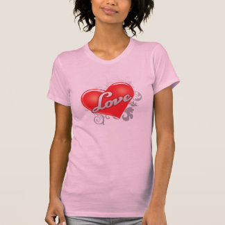 Love Red Heart Ladies Casual Scoop T-Shirt