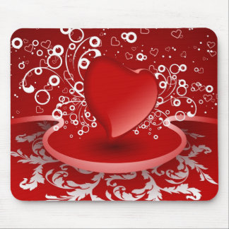 love red heart mouse pad