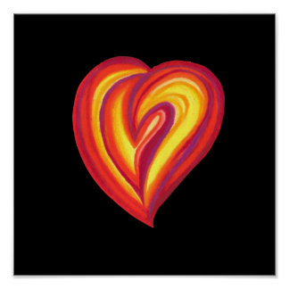 Love Red Heart Oil Pastels Poster