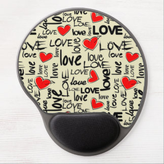Love Red Heart Pattern Gel Mouse Pad