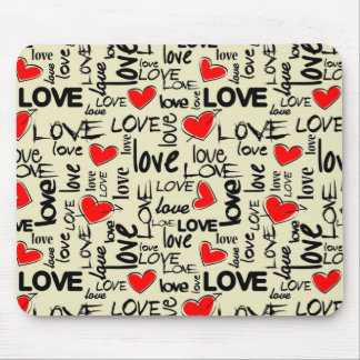 Love Red Heart Pattern Mouse Pad