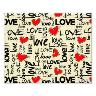 Love Red Heart Pattern Photo Print
