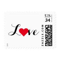 Love Red Heart Script Valentines Day Wedding Stamp