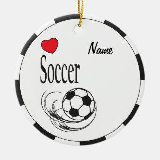 Love Red Heart Soccer Ball Ceramic Ornament