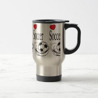 Love Red Heart Soccer Ball 15 Oz Stainless Steel Travel Mug
