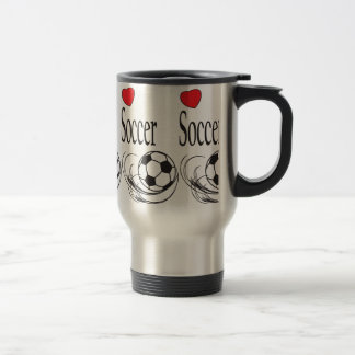 Love Red Heart Soccer Ball Travel Mug