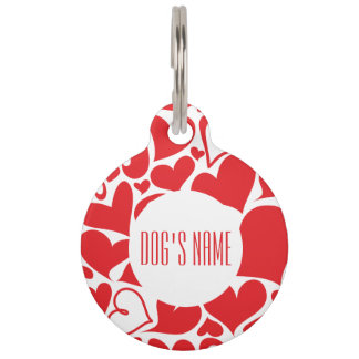 Love red heart Valentine motif with dog name text Pet ID Tag